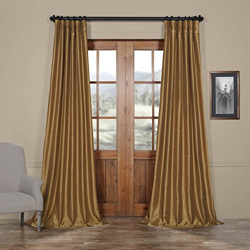 Half Price Drapes PDCH-KBS8-84 Vintage Textured Faux Dupioni Silk Curtain, 50 x 84, Flax Gold