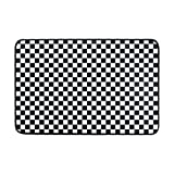 Black And White Plaid Gingham Checkered Doormat, Living Room Bedroom Kitchen Bathroom Decorative mat 20x31.5inch