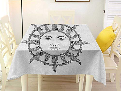 L'sWOW Square Tablecloth of Round Table Sun Monochrome Ornamental Zentangle Heavenly Body with Human Face Design Ethnic Pattern Black White Patio 70 x 70 Inch