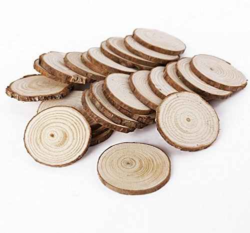 Royarebar Timeless Glam 25Pcs 5cm Wooden Wood Log Slices Discs Tree Bark Decorative for DIY Crafts Wedding Centerpieces