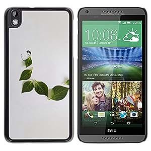 TopCaseStore / la caja del caucho duro de la cubierta de protección de la piel - Leaf Grey Minimalist Nature Sad - HTC DESIRE 816
