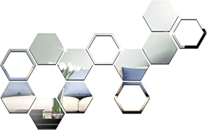 12 Pieces Large Size Mirror Wall Sticker Removable Self Adhesive Acrylic Mirror Setting Wall Sticker Decal for Home Living Room Bedroom Decor (Hexagon, 7.1 x 6.1 x 3.5 Inches)