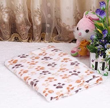 Cute Pet Puppy Paw Print Bed Mat Coral Fleece Soft Cat Dog House Blanket Pet Supplies Ama-ZODE