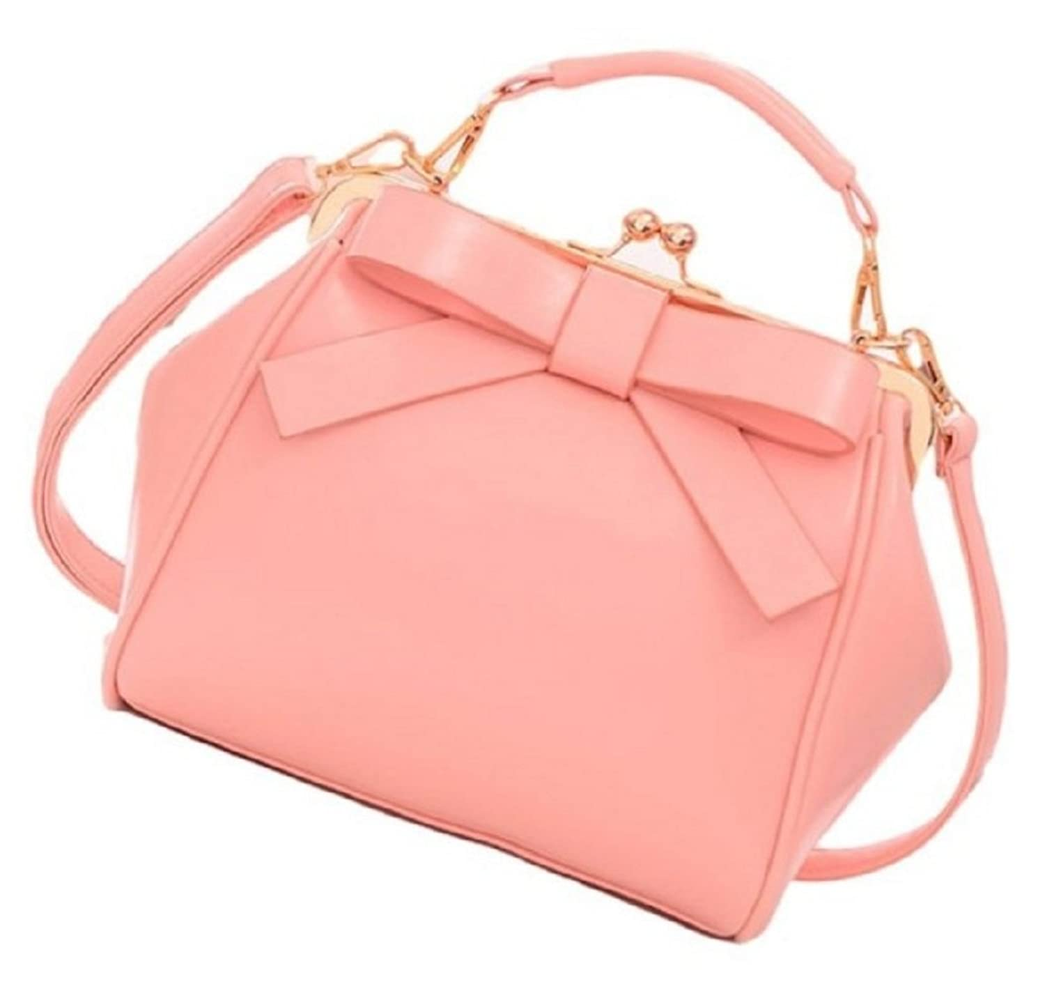 3way PU Leather Handbag with the Pretty Ribbon Gamaguchi type