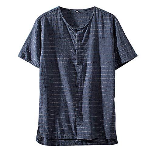 - Men's Vintage Shirt Stripe Cotton Linen Solid Color Short Sleeve Loose T Shirts Tops Blouse (4XL, Navy)