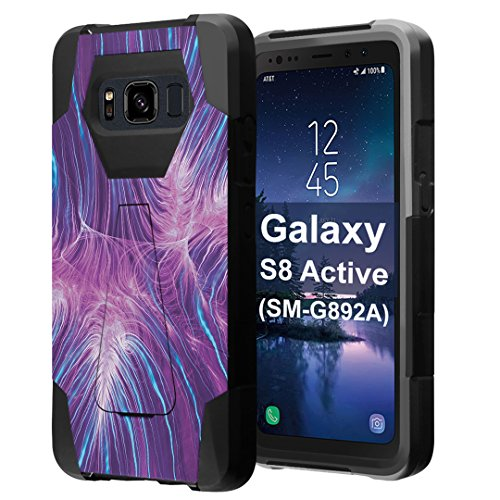 for Galaxy S8 Active, Galaxy S8 Active Case, Capsule-Case Hybrid Fusion Dual Layer Shockproof Combat Kickstand Case (Black) for Samsung Galaxy S8 Active SM-G892A - (Purple Abstract) ()