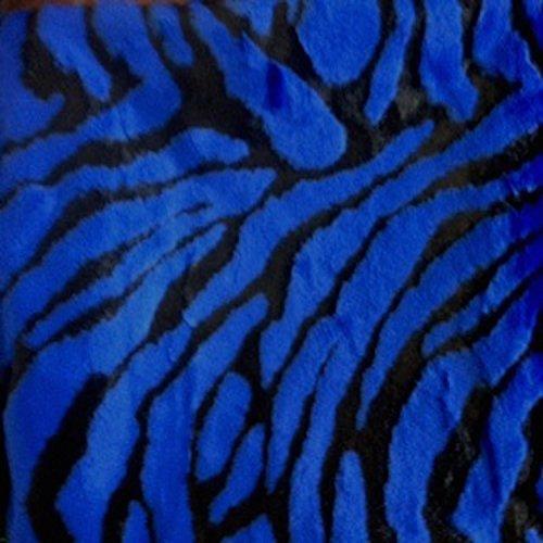 Tiger Regal Royal Blue Faux Fur Fabric Animal Print 58