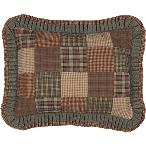 VHC Brands Primitive Bedding Cinnamon Plaid Cotton Hand Quilted Patchwork Standard Sham, Dark Olive Green