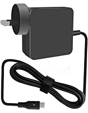 Llamatec 65W Type-C charger with 6-foot Light Up power cord for Apple Macbook, Dell XPS, Xiaomi Air, Huawei Matebook, HP Spectre, Lenovo IdeaPad, Yoga, and X1 Carbon, Razer Blade Stealth, Nintendo Switch,Asus ZenBook 3, ASUS AC65-00 65W USB Type-C Adapter, and most of Type-C enabled laptop, smartphone and tablet (BLACK)