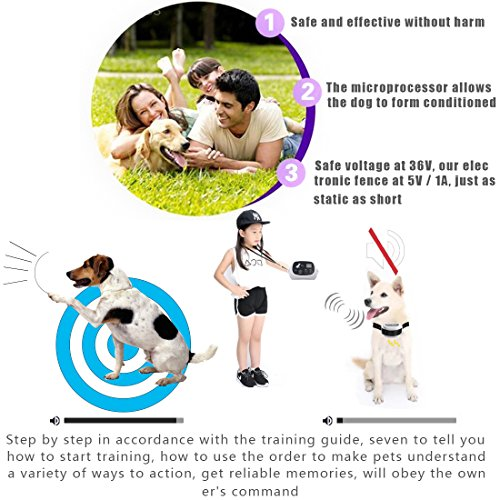 Wireless Dog Fence Containment System, PetPi - 500M Radius Remote Control Rechargeable Transmitter +...