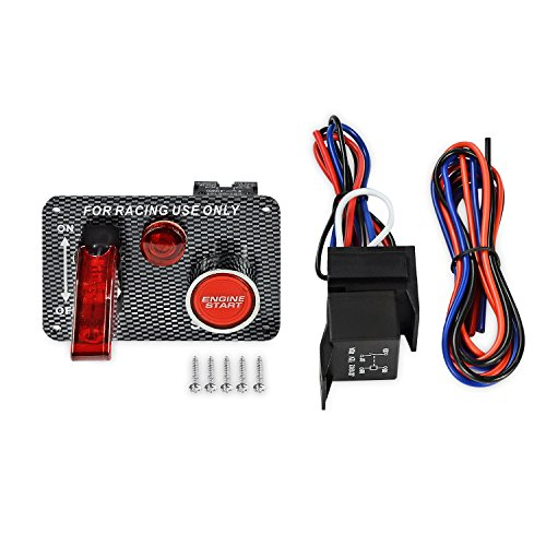 QUWEI Carbon Fiber Racing Car 12V Ignition Switch Panel Engine Start Push Button Red LED Toggle (Ignition Button)
