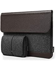 HOMIEE Laptop Sleeve Felt & Leather Bag with Extra Storage Case, Protective Cover for MacBook/Acer/Asus/Dell/Lenovo/HP/Chromebook Ultra Slim Notebook Business Carrying Case