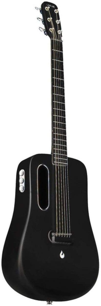 LOIKHGV Guitarras- Guitarra de 36 Pulgadas Guitarra de Fibra de Carbono de 6 Cuerdas con Estuche de Regalo, Freebost Negro, 36 Pulgadas