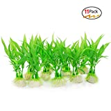#7: Cousduobe 11 Pack Artificial Aquarium Plants,Small Size 4 inch Approximate Height Used For Household And Office Aquarium Simulation Plastic Hydroponic Plants