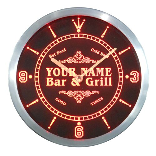 ncu35740-r POTEMPA Family Name Bar & Grill Cold Beer Neon Sign LED Wall Clock