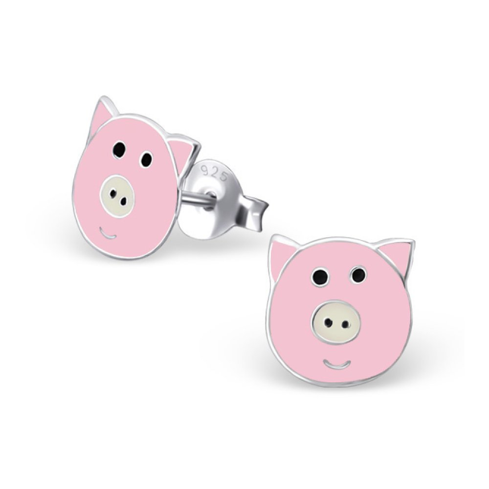 Sterling Silver Children's Pig Stud Earrings with Epoxy Glitzs Jewels 17367