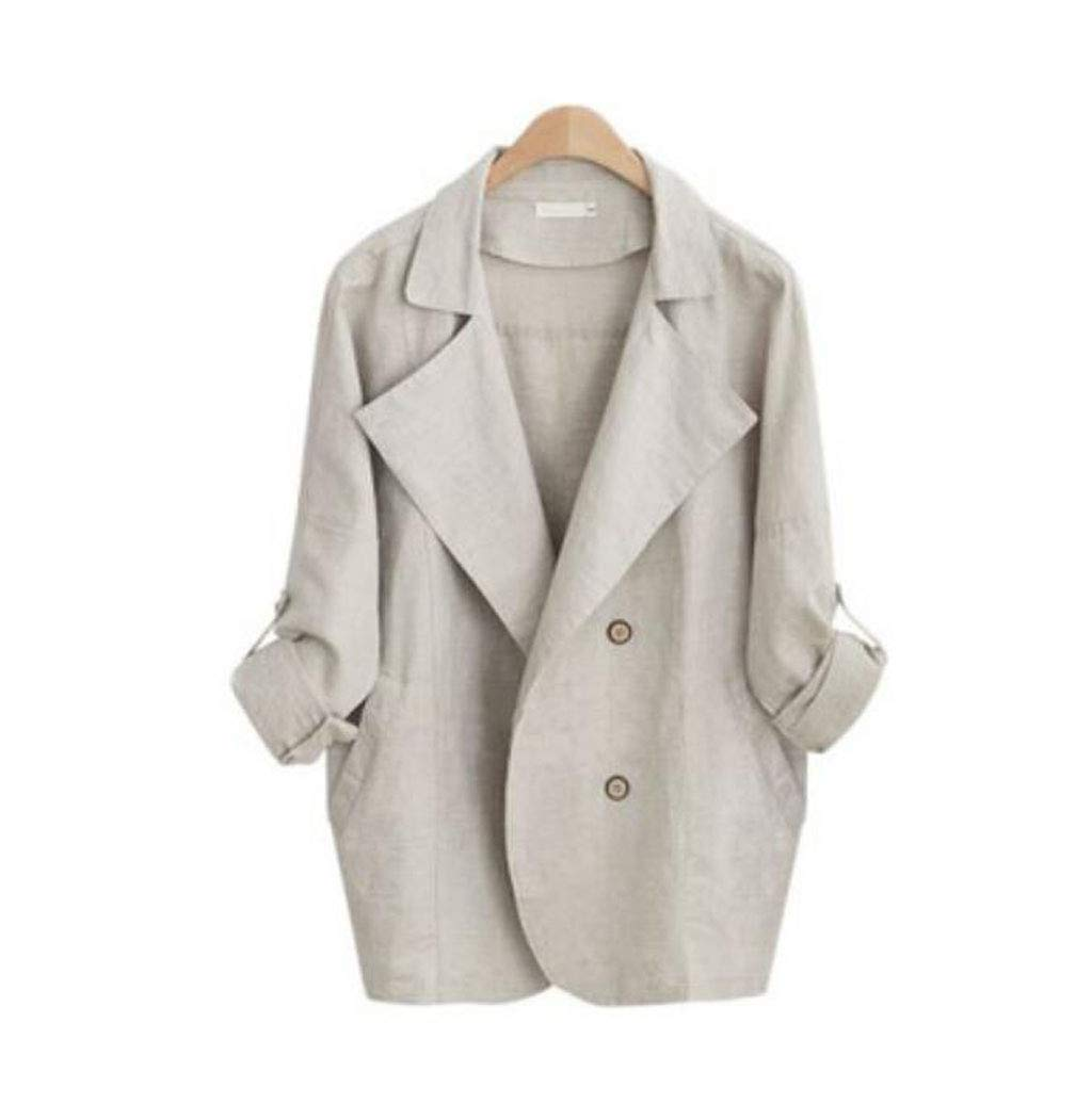Autumn New Windbreaker Long Section Loose Large Size Women's Jacket White (color   Beige, Size   L)