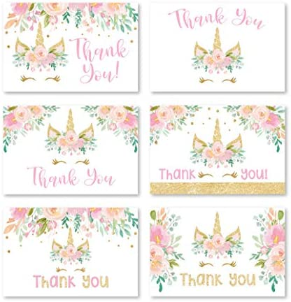 24 Unicorn Baby Shower Thank You Cards With Envelopes, Kids Thank-You Note, 4×6 Gratitude Card Gift For Guest Pack For Party, Birthday, For Girl Children, Cute Magical Pink Floral Event Stationery