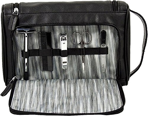 Bey Berk Men's Travel Toiletry Bag w/ 5 pc Manicure Set -...