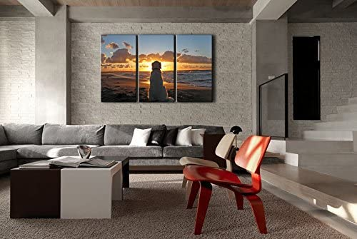 3 Piece Wall Art Painting Dog and Sunset Pictures Prints On Canvas Painting for Modern Home Decoration