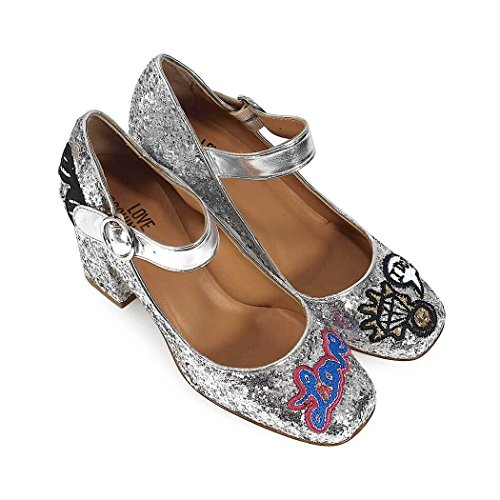 Mujer Altos Plata Zapatos Moschino JA10048C15IHO902 Purpurina Love BSUw75qTc
