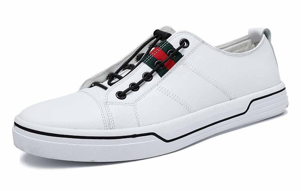 GLSHI Männer Casual Flache Schuhe Leichte Sneakers Niedrig Top Fashion Skateboard Schuhe Weiß