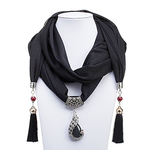 ysiop-women-solid-color-jewelry-scarf-necklace-black
