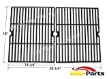 Hongso PCH502 Universal Matte Cast Iron Cooking Grid Replacement for Select Gas Grill Models by Ducane - Grill Chef and Others - Set of 2