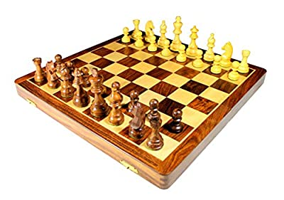 "18"" x 18? Collectible Wooden Folding Chess Game Board Set+Wooden Crafted Pieces With Extra Queen"