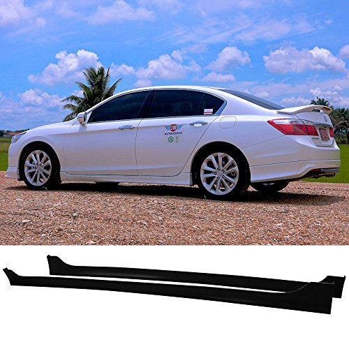 Side Skirts Fits 2013-2016 Honda Accord | Black PP Sideskirt Rocker Moulding Air Dam Chin Diffuser Bumper Lip Splitter by IKON MOTORSPORTS| 2014 2015