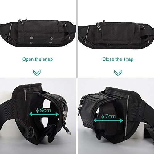 Sport Waist Bag Fanny Pack Black Waterproof, with Water Bottle Holder, for Men Women Running Hiking Cycling Climbing by JINGHAO (Image #2)