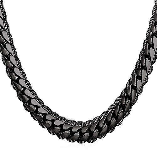 U7 Men Big Heavy Chain 9MM Wide 18K Stamp Fashion Jewelry Street Rock Hip Hop Style Black Gun Metal Plated Chunky Necklace (26 inch)