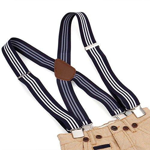 Bundle Monster 4pc Jacquard Weave Design X-Back Adjustable Clip Unisex Suspender by Bundle Monster (Image #8)
