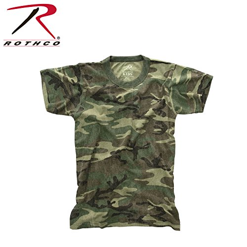 Woodland Camo Cotton Army T-shirt (Rothco Kids Vintage T-Shirt, Woodland Camo, X-Large)