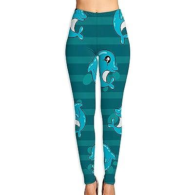 Abusss Pantalons Yoga de Tela Deportivos de Cintura Alta Pantalones de Women's Cute Dolphin Pattern Printed Ultra Soft Leggings Fashion High Waist Yoga Pants Beautiful Sport Workout Leggings: Ropa y accesorios
