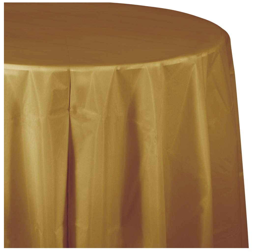 Glittering Gold Round Plastic Tablecloths, 3 ct by Creative Converting