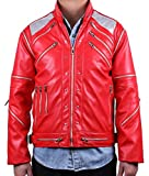 MJB2C - Beat it Costume Metal Zipper Leather Jacket Kids Child/Adult (Adult X-Small, Red)