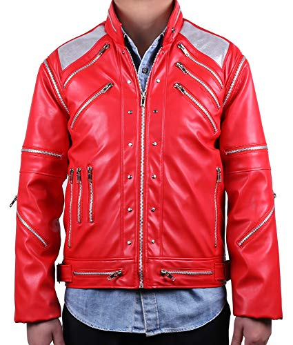 Mjb2c-Michael Jackson Costume Beat it Metal Zipper Leather Jacket Kids Child (8-9Y) Red -