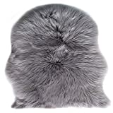 KAIHONG Faux Fur Sheepskin Style Rug (60 x 90 cm) Faux Fleece Chair Cover Seat Pad Soft Fluffy Shaggy Area Rugs For Bedroom Sofa Floor (gray, 60 x 90 cm)