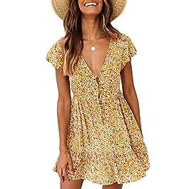 Women's Boho Floral Print  Beach Mini Dresses