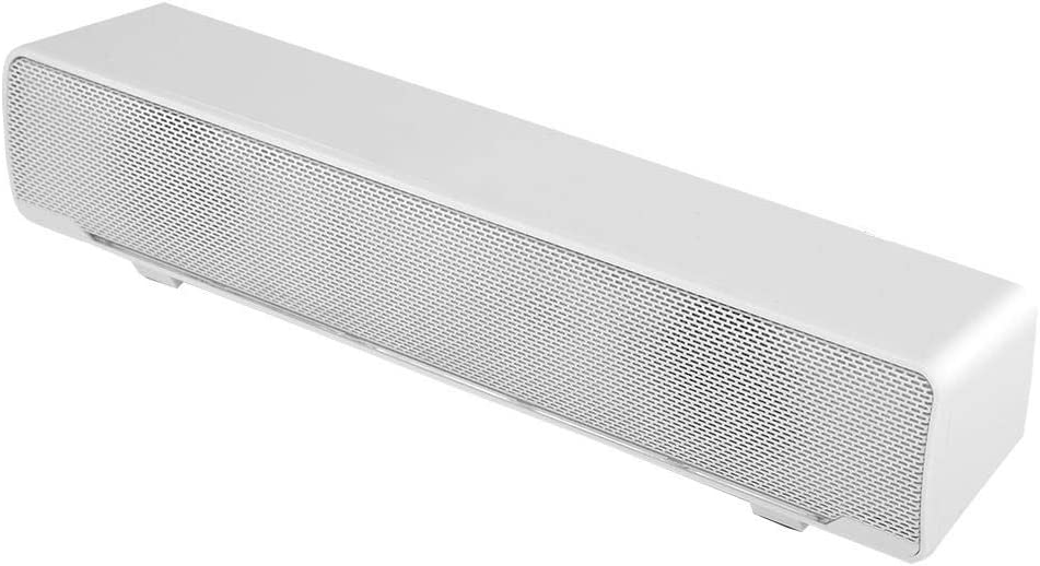 Barra de Sonido USB TV, Sonido estéreo 3D Mini Barra de Sonido con Sonido Envolvente de Bajos con luz de respiración LED Compatible con TV, Escritorio, computadora portátil (White)