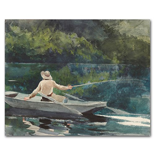 Fly Fishing Print, Lake House Art (Winslow Homer Boat Artwork, Fisherman Museum Wall Decor) 1894