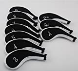Dark Horse 10pcs Golf Long Neck Iron Zippered Head Covers Headcover Fit All