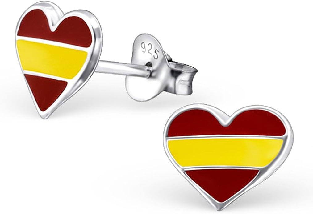 Español España Bandera Pendientes de forma de corazón de plata de ...
