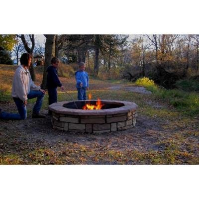 60 In. Concrete Random Stone Brown Round Fire Pit Kit Natural, Multi-colored, Textured, Stacked Stone Design Provides Durability and Stylishly Accents Your Outdoor Living Space