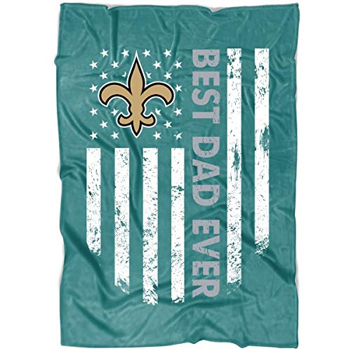 LEXIGSTORE New Orleans Saints Football Soft Fleece Throw Blanket, Best Dad Ever Blanket for Bed and Couch (Large Fleece Blanket (80