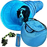 Lake Effect 18ft Dog Agility Training Tunnel, Obstacle Training Equipment, 24 Inches in Diameter, Indoor Or Outdoor, Cats and Dogs, Caring Case and Eight 7'' Stakes Included
