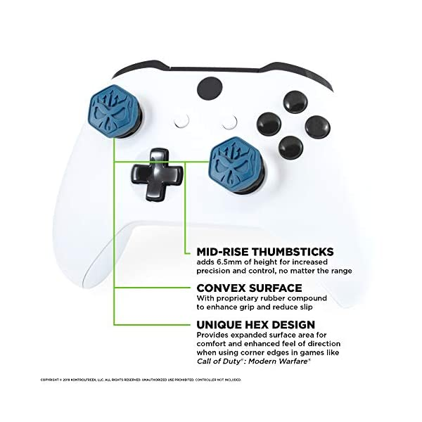 KontrolFreek Call of Duty Modern Warfare Performance Thumbsticks for Xbox One | 2 Mid-Rise, Convex | Blue/Black 2