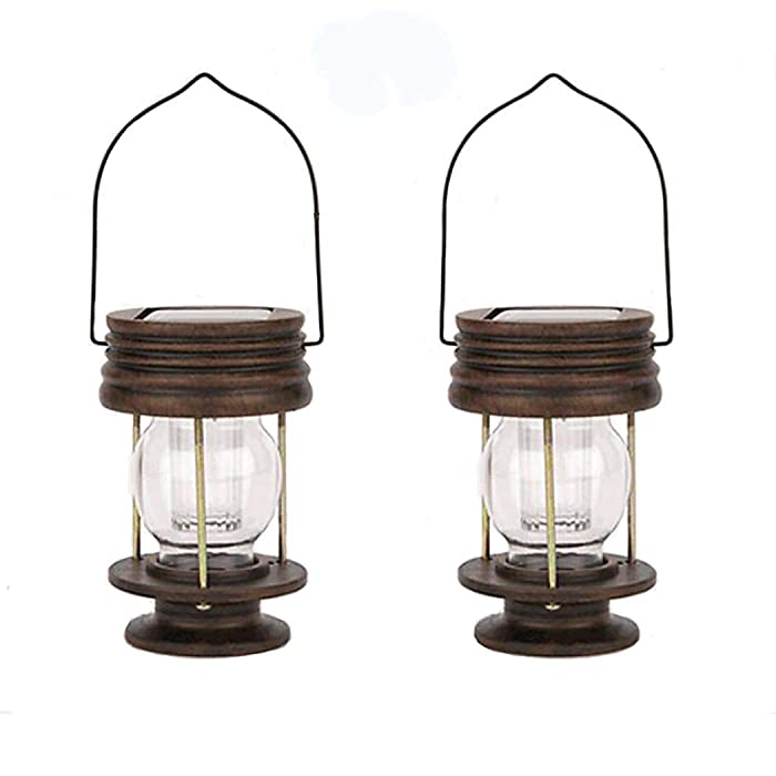 Obell Hanging Solar Lights 2 Pack Outdoor Garden Lights LED Retro Solar Hanging Lanterns with Handle for Pathway Yard Patio Decor Tree Beach Pavilion Lights (White Light)