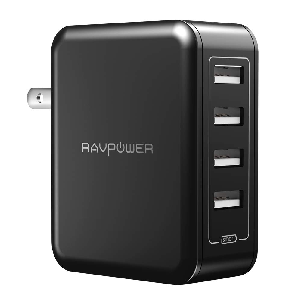RAVPower USB Wall Charger 40W 8A 4-Port Multi-Port Travel Charger Charging Station, Compatible iPhone Xs Max XR X, iPad Pro Air Mini, Galaxy S9 S8 Note 8 Edge, Smartphone, Tablet and More by RAVPower